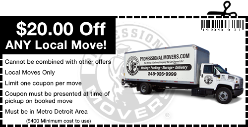 Professional Movers.com Coupon Detroit MI