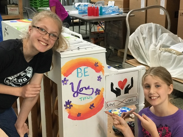 Royal Oak Artists, Ella & Ava Schwartz painted positive affirmations on one of the pianos
